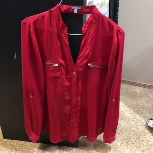 Red dress blouse